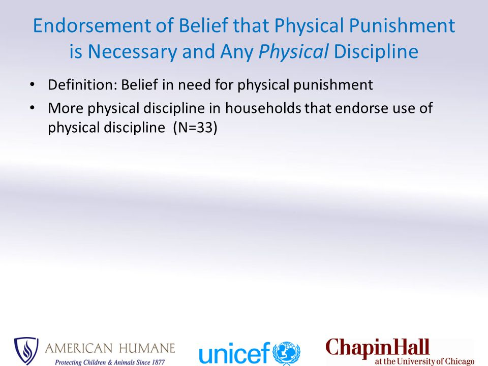 Endorsement of Belief that Physical Punishment is Necessary and Any Physical Discipline