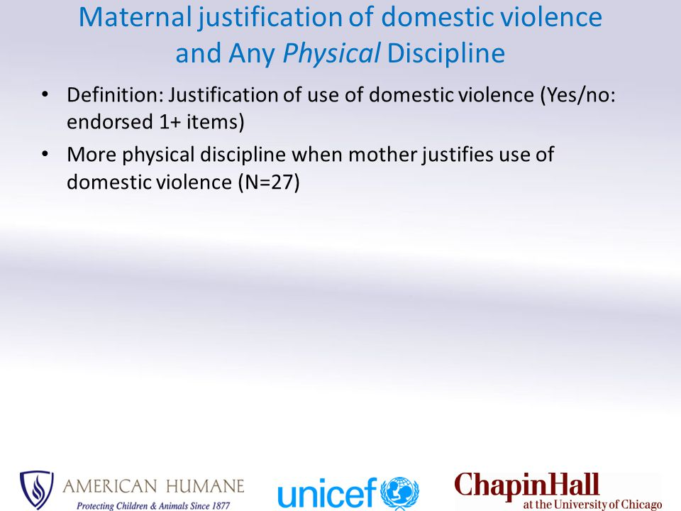 Maternal justification of domestic violence and Any Physical Discipline