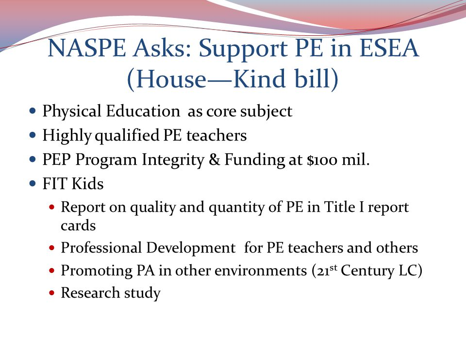 NASPE Public Policy Agenda Background on NASPE NASPE Standards Public Policy Goals Public Policy Issues Resources