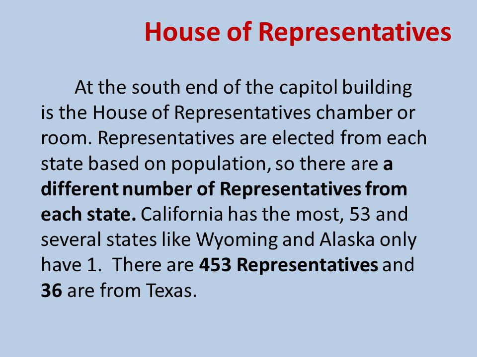 House of Representatives Representatives are elected for two year terms and represent only their home part of the state called a district.