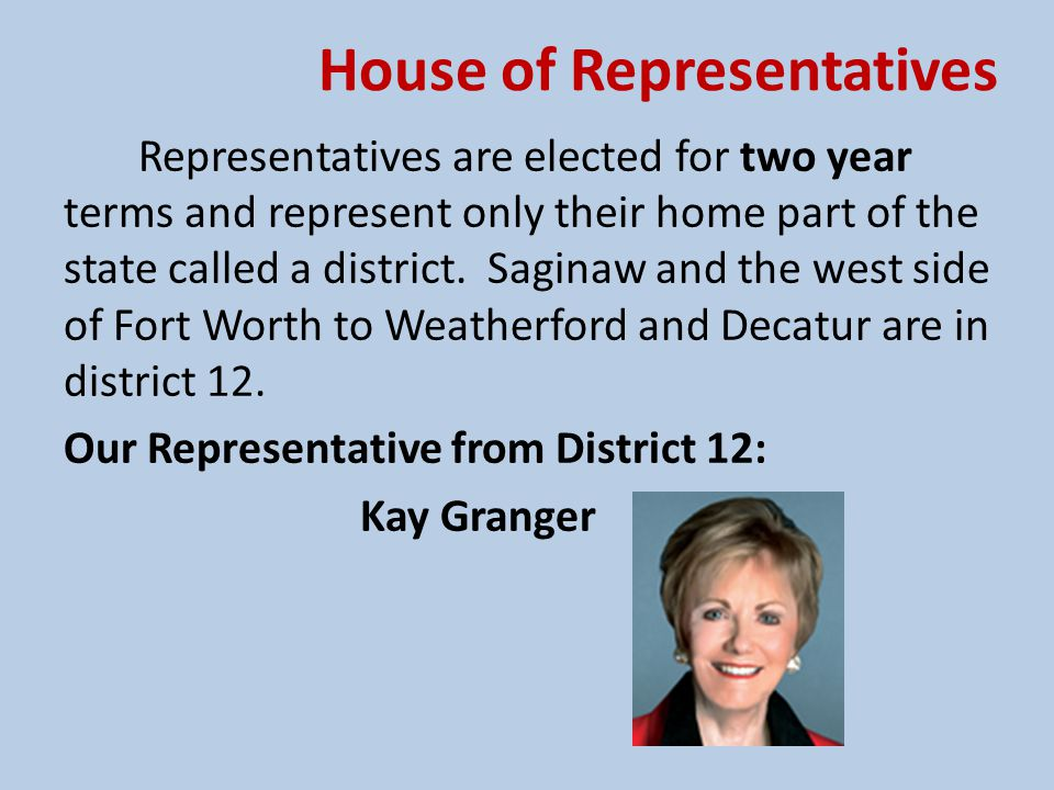 House of Representatives Saginaw and the west side of Fort Worth to Weatherford and up to Decatur are in district 12.