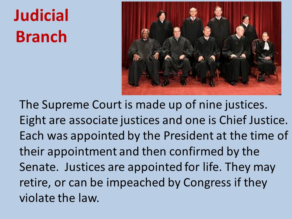 Judicial Branch The Supreme Court is responsible for interpreting the law and deciding if new laws are constitutional.