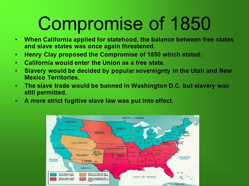 Fugitive Slave Law of 1850 Required all citizens to aid (help) in the capture of runaway slaves.