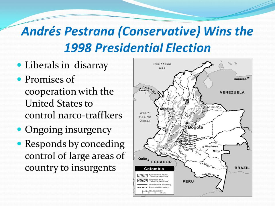 Alvaro Uribe Ends two Party Dominance of Colombian Politics - 2002 Conservatives policy toward the insurgency disastrous Closed leadership Smaller base of party identifiers than Liberals Liberals Closed leadership Ties with narco- traffickers undermine legitimacy Economic policies fail to aid poor