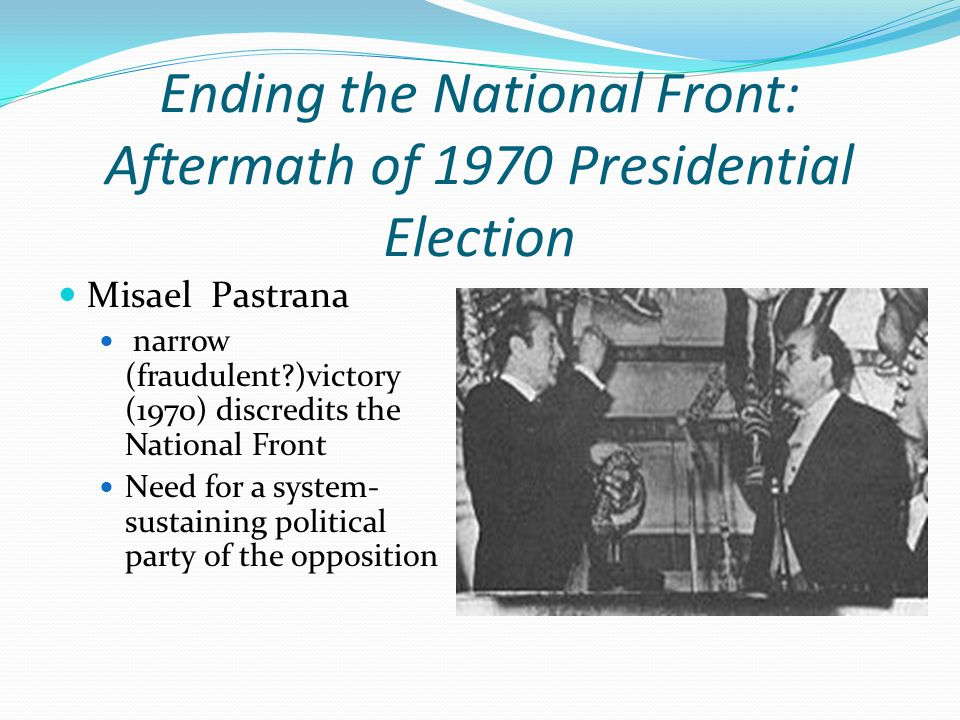 Conservatives & Liberals renege on their deal with ANAPO Fear of ANAPO and populist left Maria Eugenia Rojas runs in 1974 as ANAPO candidate ANAPO infrastructure decimated Rise of M-19