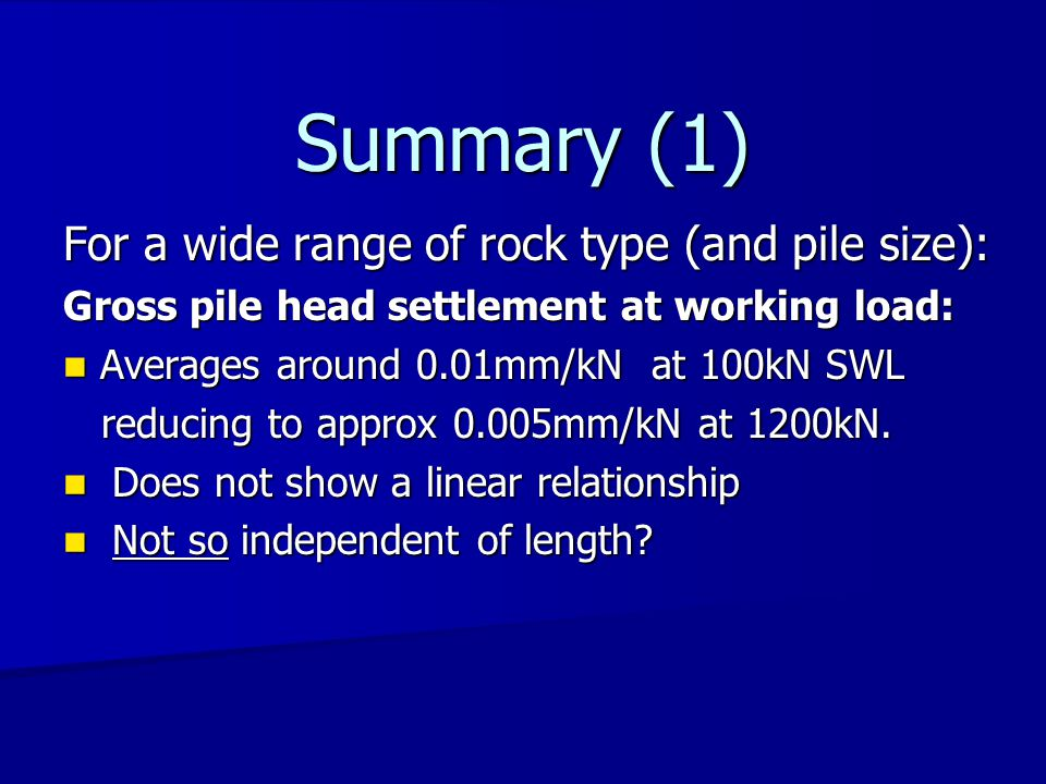 Summary (2) Comparison with static tests Tests on micropiles socketed into rock Gross pile settlement at working load is: Static Dynamic Static Dynamic Av.