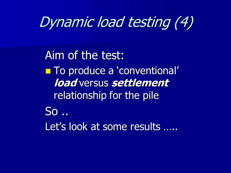 Pile length vs Pile head settlement at working load: Dynamic load tests (rock)