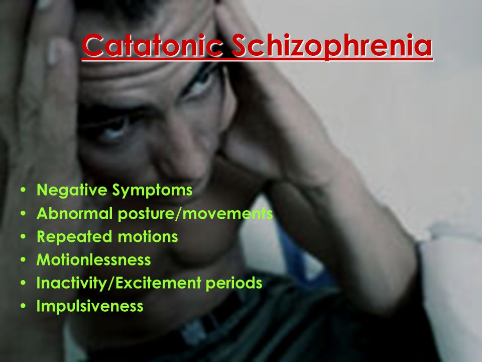Undifferentiated Schizophrenia Decrease in outside interests/relationships Absence of mental activity Lack of emotion Mixture of symptoms Does not fit any of the categories Residual Schizophrenia Moderate symptoms which occur after partial recovery of an acute episode of schizophrenia Less severe symptoms: flat affect, Absence of emotion, limited speech