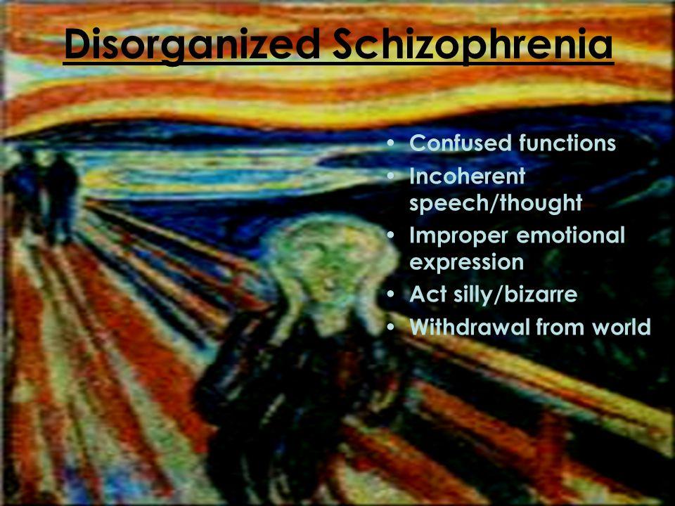 Catatonic Schizophrenia Negative Symptoms Abnormal posture/movements Repeated motions Motionlessness Inactivity/Excitement periods Impulsiveness