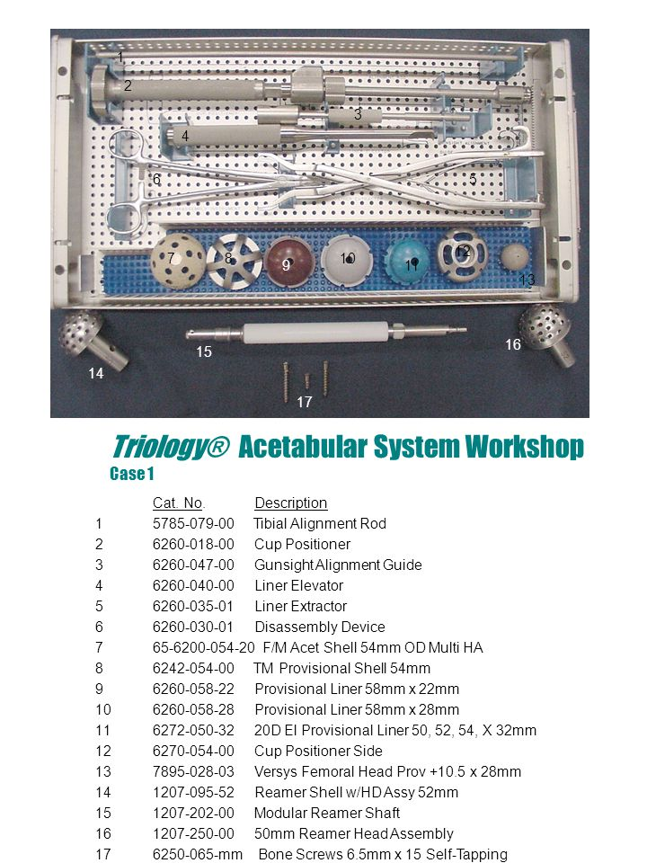 Trilogy ® Acetabular System Workshop Case 2 Cat.
