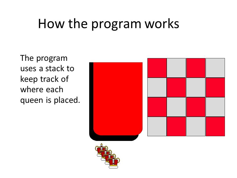 How the program works Each time the program decides to place a queen on the board, the position of the new queen is stored in a record which is placed in the stack.