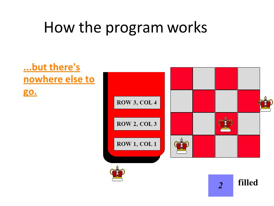 How the program works When we run out of room in a row: pop the stack, reduce filled by 1 and continue working on the previous row.