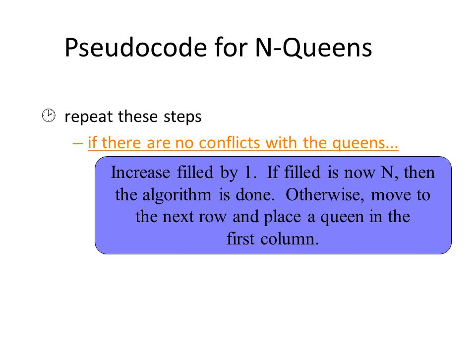 Pseudocode for N-Queens  repeat these steps – if there are no conflicts with the queens...