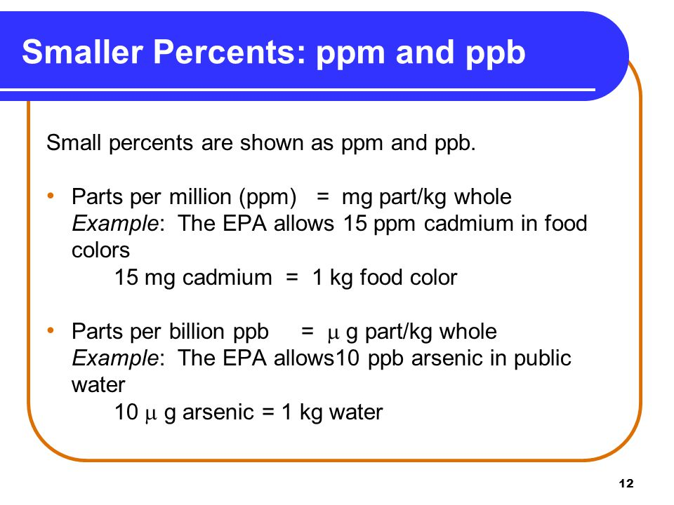 13 Arsenic in Water Write the conversion factors for 10 ppb arsenic in public water from the equality 10  g arsenic = 1 kg water.