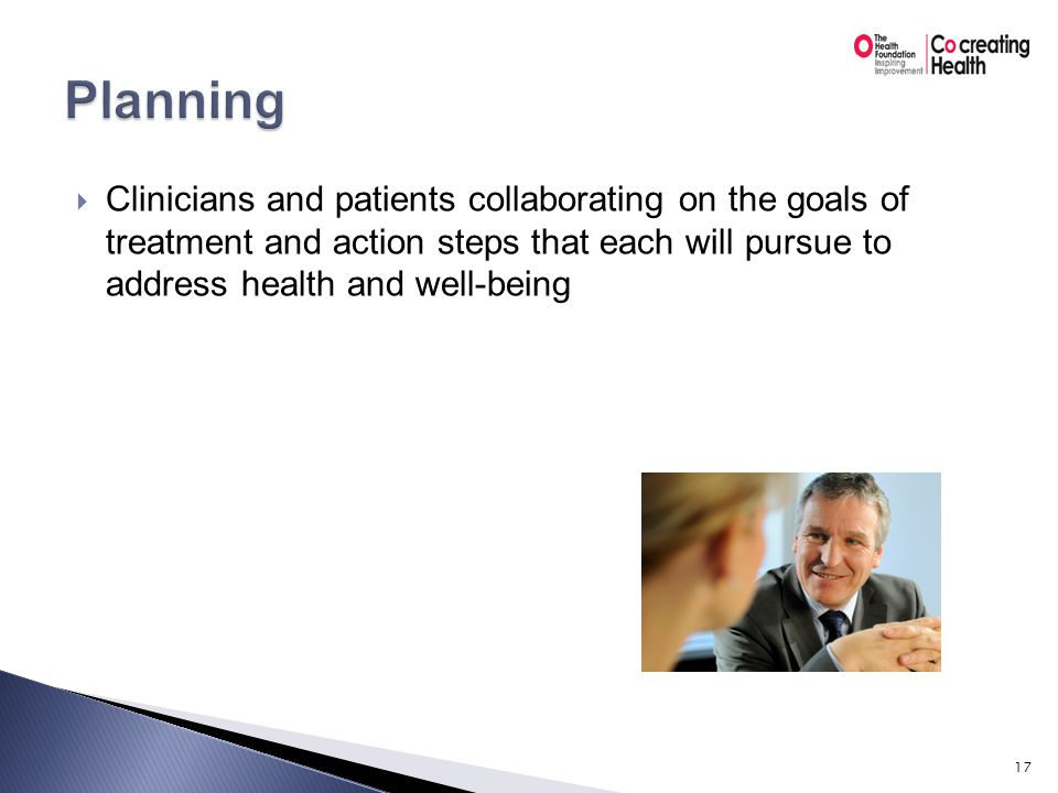  Patient and clinician supporting self-management by arranging to learn from the results of an action plan 18