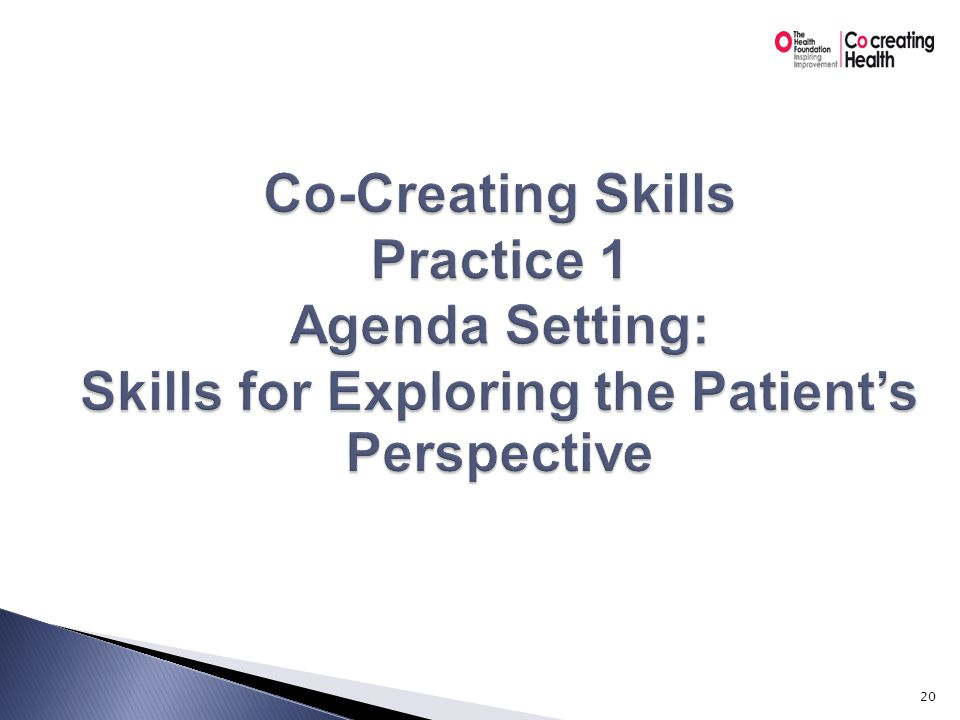 Skills for learning the patient's perspective  The power of the patient's perspective  A strong relationship  Key skills ◦ Open-ended questions ◦ Reflection ◦ Empathy 21