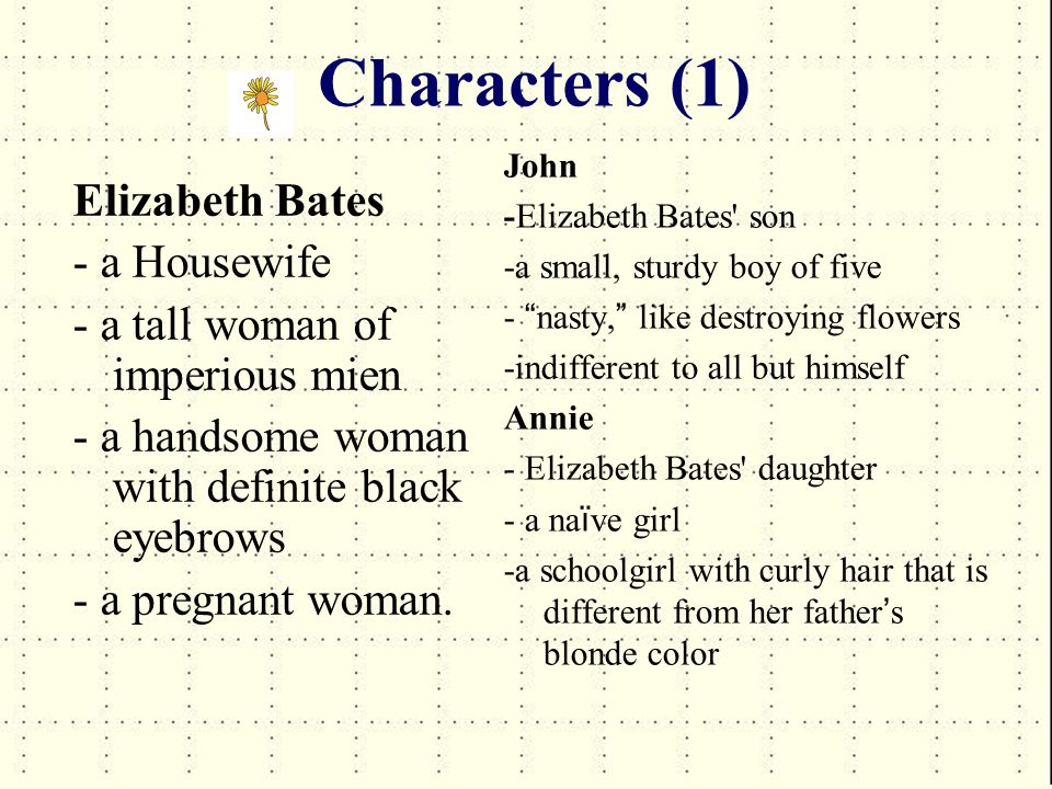 Characters (2) Elizabeth Bates mother-in-law -an elderly woman about sixty years old -Walter ' s social superior, a teacher who was keen to develop the talents of her children.