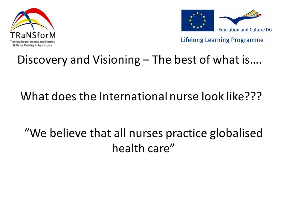 The Project Process EXAMPLE Visualising the needs of the International nurse (Discovery) Provocative vision statement (Dream) Framework of Nursing skills (Design) Self Assessment (Deliver)