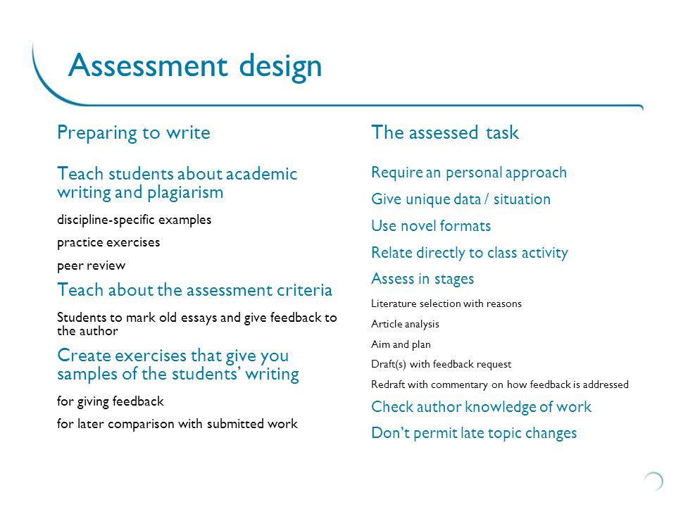 Sample assessments Extract from http://www2.surrey.ac.uk/cead/resources/documents/Designing_out_plagiarism.pdf