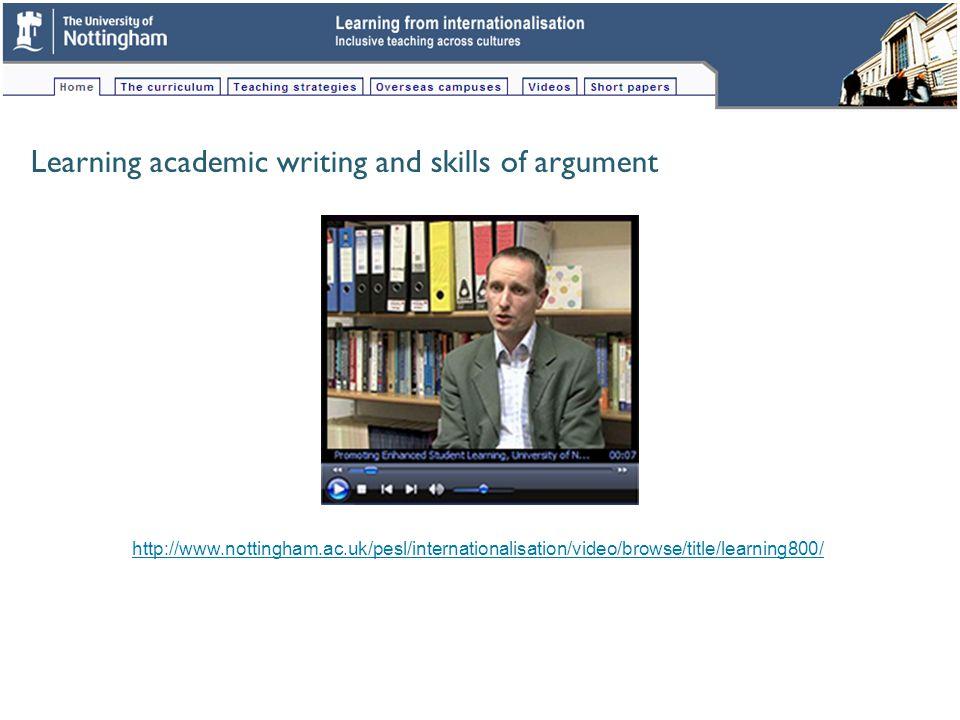 Study skills support for international students http://www.nottingham.ac.uk/pesl/internationalisation/video/browse/title/studyskx228/