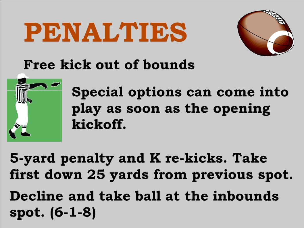 PENALTIES Free kick out of bounds Signal – free kick out of bounds.