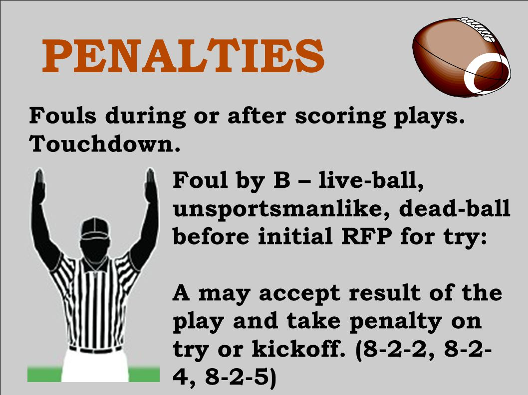 PENALTIES Fouls during or after scoring plays. Touchdown. Sequence when on KO.