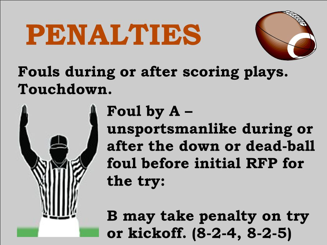 PENALTIES Fouls during or after scoring plays.Touchdown.