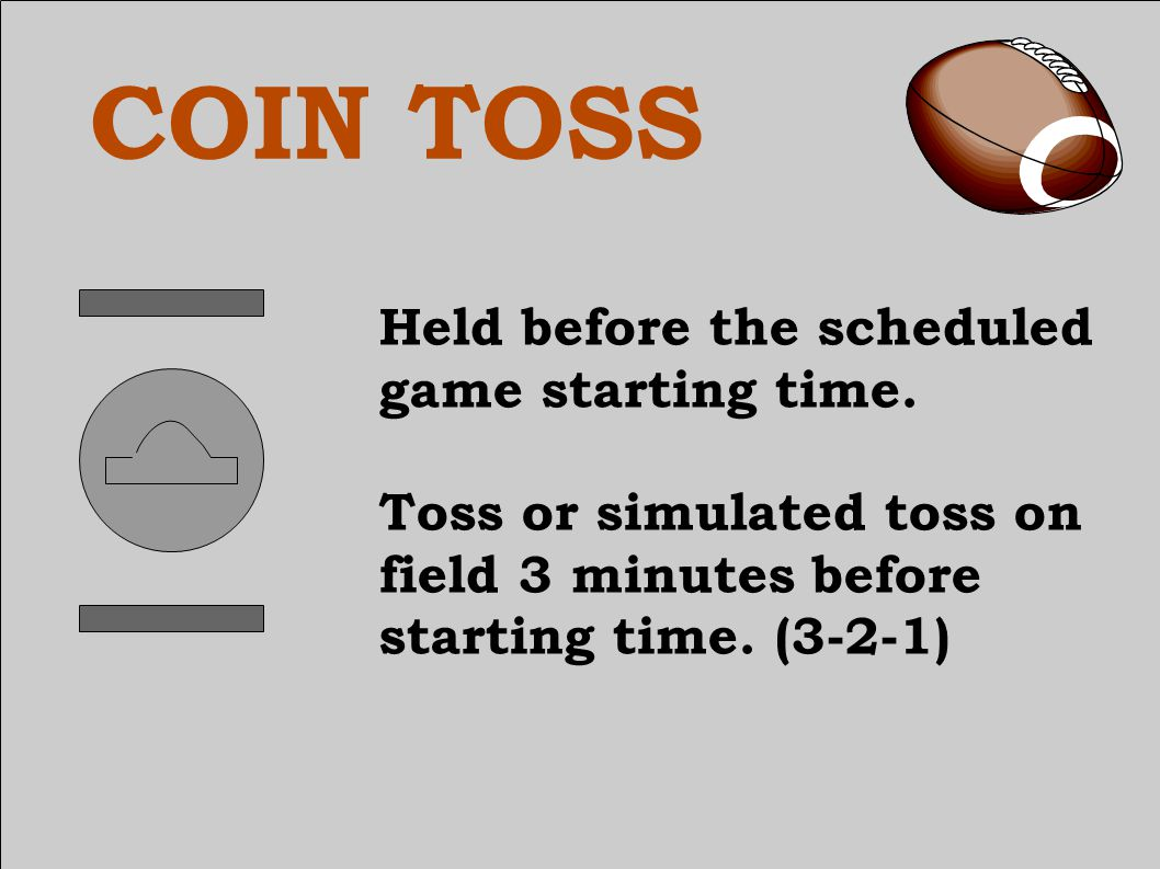 COIN TOSS Visiting team will give a heads or tails choice before the coin toss.
