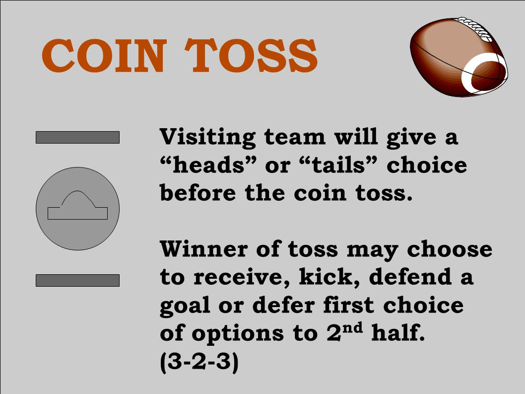 COIN TOSS Keep it simple – receive or defer.