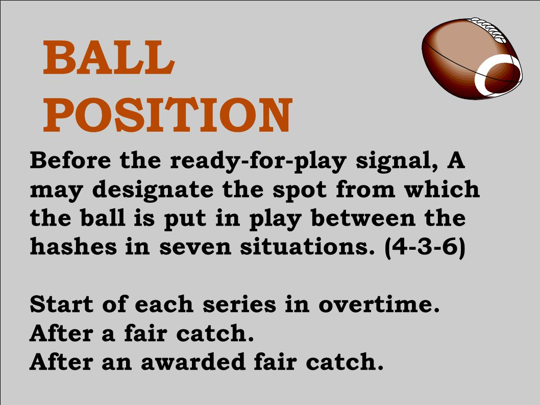 BALL POSITION Start of each series in overtime.After a fair catch.