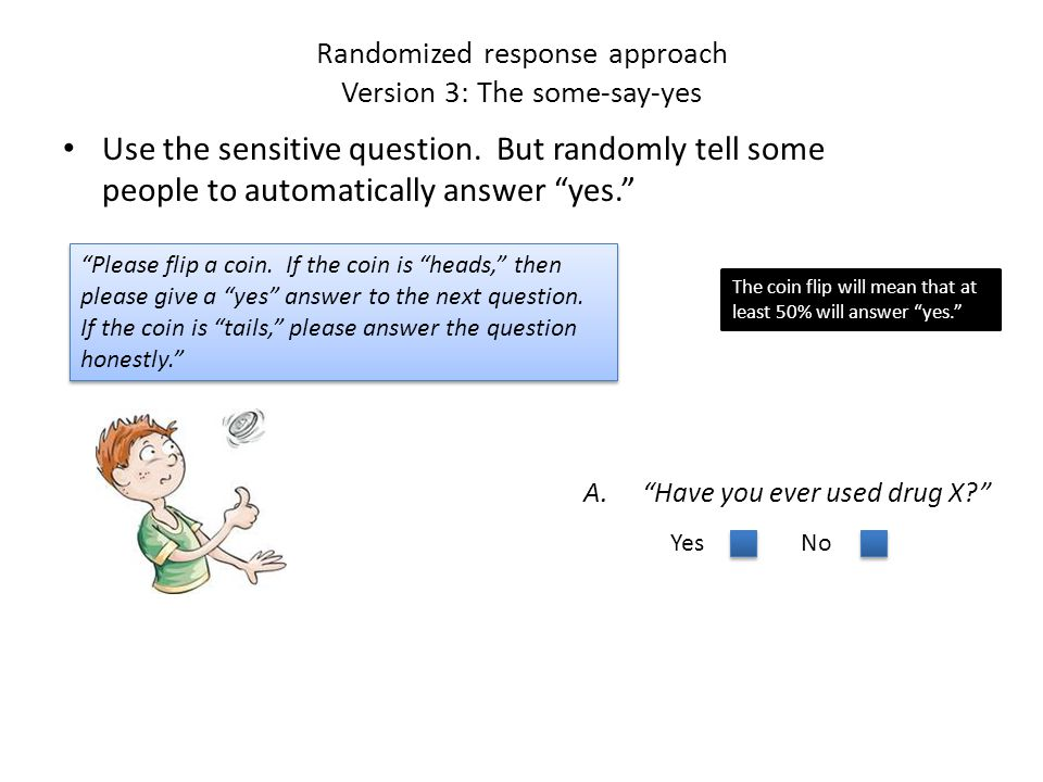 Randomized response approach Version 3 with several questions Use a series of sensitive questions.