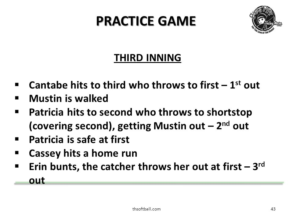 thsoftball.com44 PRACTICE GAME FOURTH INNING  MuMu hits a single  Shanna strikes out swinging – 1 st out  MuMu gets caught stealing second by the catcher – 2 nd out  Billy gets three strikes, catcher drops the pitch, catcher throws to first base.