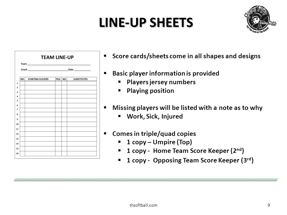 thsoftball.com10 LINE-UP SHEET/CARD  Sample of a complete line-up sheet/card  All team members are available