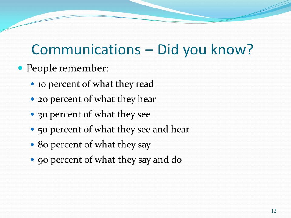 The Ten Commandments of Good Communication Seek to clarify your ideas before communicating Examine the true purpose of each communication Consider the total physical and human setting Consult with others in planning communications Be mindful of the overtones as well as the basic content of your message Take the opportunity to convey something of help or value to the receiver Follow-up your communication Communicate for tomorrow as well as today Be sure your actions support your communications Seek not only to be understood but to understand - be a good listener 13
