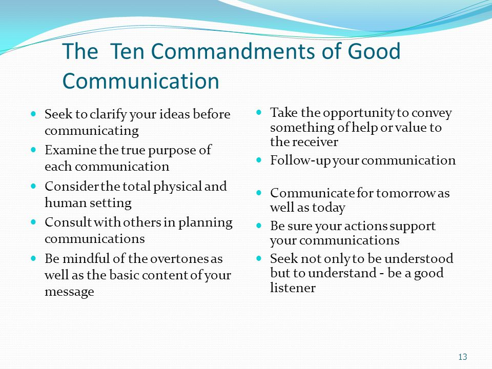 Summary Successful communication requires understanding by the receiver.