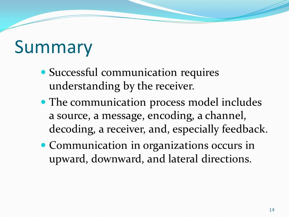 Conclusions The key to the communication process is to have understanding on the part of the receiver.