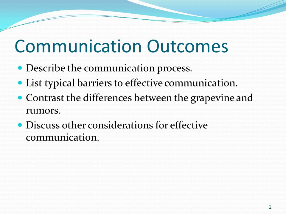Communication Efficient communication is ESSENTIAL to being successful in life.