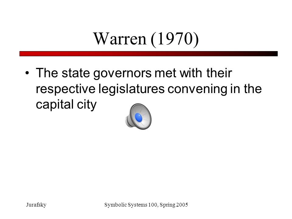 JurafskySymbolic Systems 100, Spring 2005 Warren (1970): Phoneme Restoration Effect The state governors met with their respective legislatures convening in the capital city The /s/ was deleted in Legi*latures and replaced with a cough.
