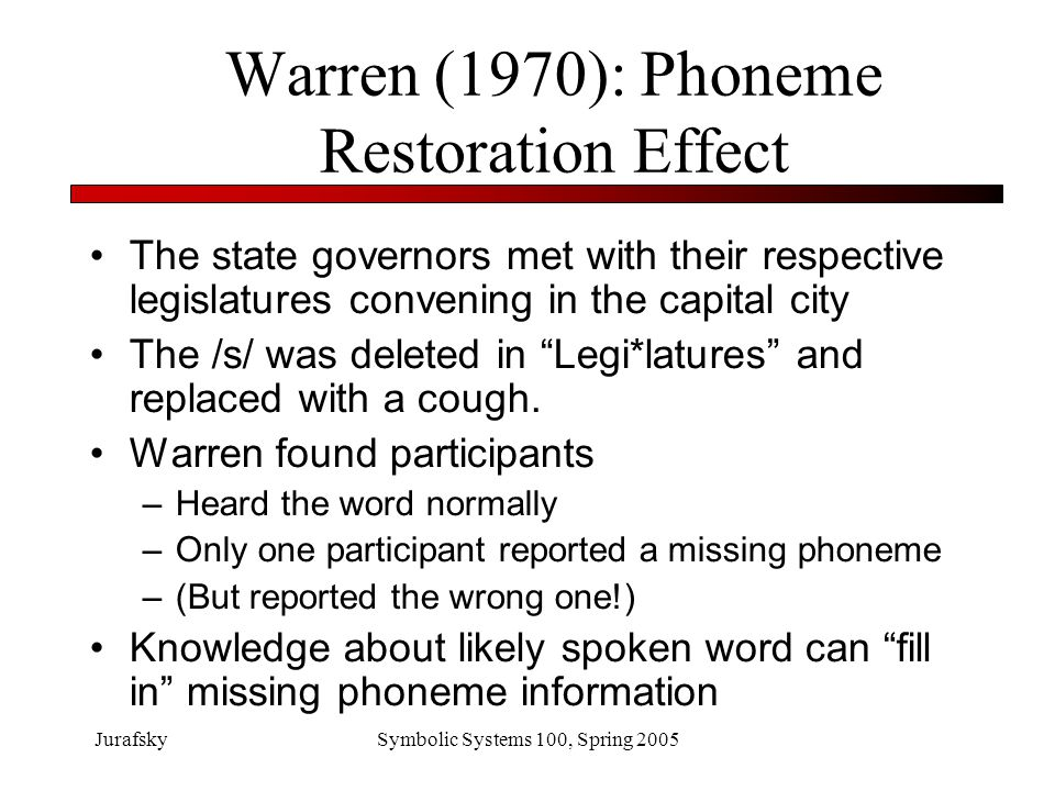JurafskySymbolic Systems 100, Spring 2005 Warren (1970): Phoneme Restoration Effect 1) The *eel was on the axle.