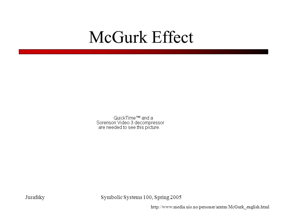 JurafskySymbolic Systems 100, Spring 2005 McGurk Effect: an Auditory Illusion Visual cues to syllable ga Auditory cues to syllable ba Results in perception of da or tha