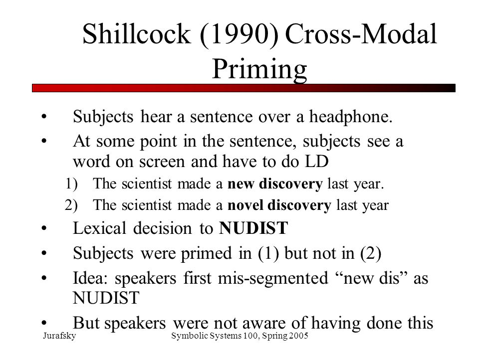 JurafskySymbolic Systems 100, Spring 2005 What we've learned Word recognition in speech is parallel Multiple possible segmentations are considered and rejected subconsciously and quickly