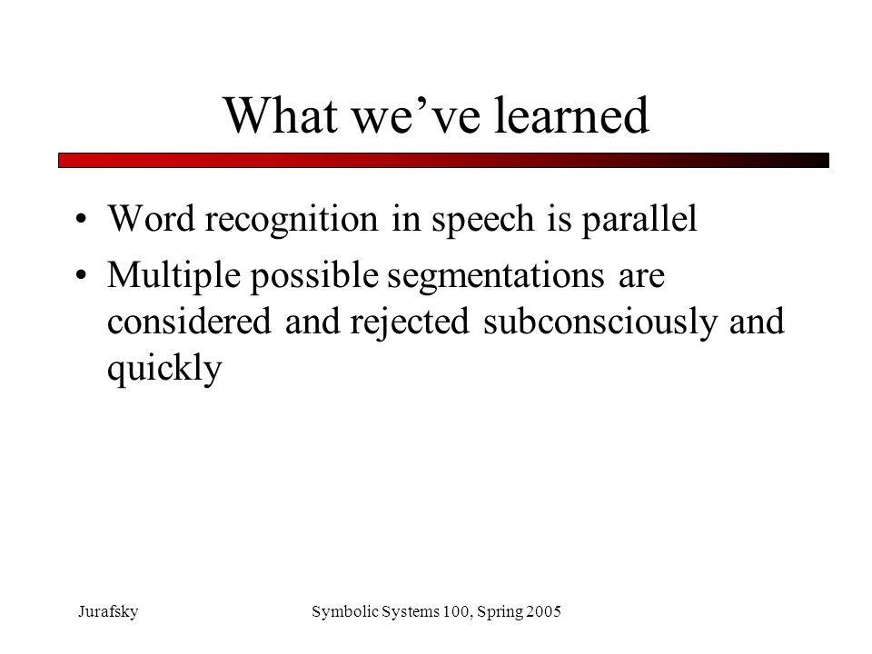 JurafskySymbolic Systems 100, Spring 2005 Use of visual information in lexical access