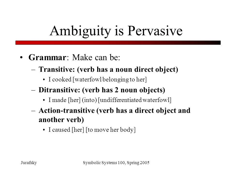 JurafskySymbolic Systems 100, Spring 2005 Ambiguity is Pervasive Phonetics.