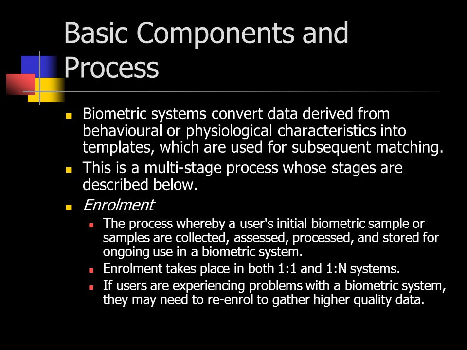 Submission The process whereby a user provides behavioural or physiological data in the form of biometric samples to a biometric system.
