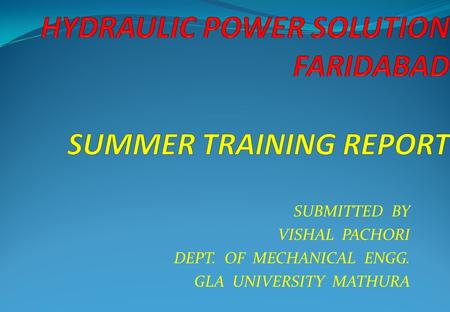 HYDRAULIC POWER SOLUTION FARIDABAD, CNC SOLUTION BY VISHAL PACHORI