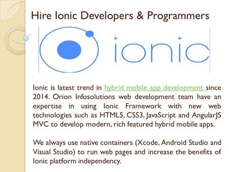 Hire Ionic Developers & Programmers