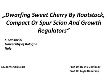 """Dwarfing Sweet Cherry By Rootstock, Compact Or Spur Scion And Growth Regulators"" Student: Adis Lizalo Prof. Dr. Husnu Demirsoy Prof. Dr. Leyla Demirsoy."