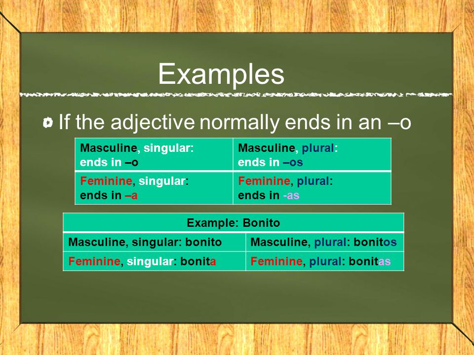 Examples If the adjective normally ends in a vowel other than –o –Both masculine and feminine use the same adjective –To make the adjective plural, add an s