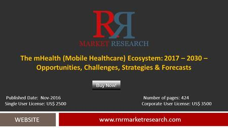 The mHealth (Mobile Healthcare) Ecosystem: 2017 – 2030 – Opportunities, Challenges, Strategies & Forecasts  WEBSITE Published.