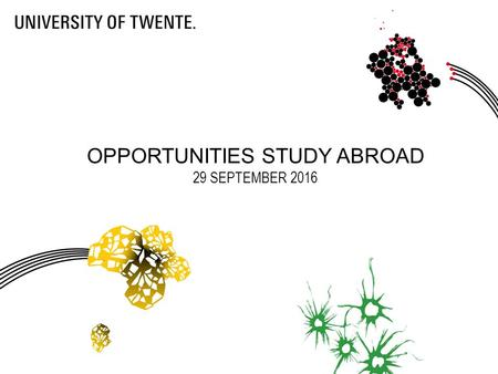 OPPORTUNITIES STUDY ABROAD 29 SEPTEMBER Today Introduction Overview opportunities study abroad Procedures Finances Other information.